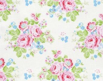 3 Yards Cut - Rambling Rose White by Tanya Whelan for Free Spirit Fabrics - 100% Cotton - Shabby Chic Fabric