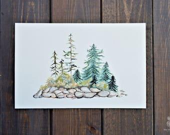 Evergreen   Hand Painted Print