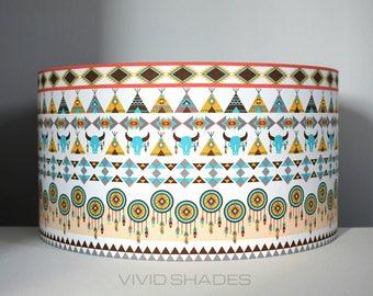Cowboys and Indians fabric light / lampshade handmade by vivid shades, modern stylish native geometric pattern, Navajo Apache