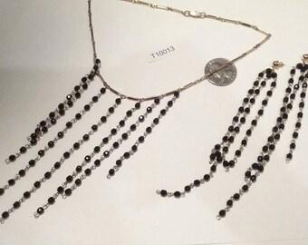 Vintage, 1980's,  necklace, Earring, set,  Demi Parure,  Old Stock, Swarovski, Jet, Crystal, T10012