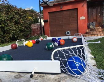 SoccerPool game, white/blue. 16 balls included. Snookball soccer pool billiards