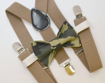 Bow Tie & Suspenders SET / Military Camo Bow Tie / Taupe Brown Khaki Suspenders / Kids Mens Baby Wedding Page Boy Set 6 months - Adult