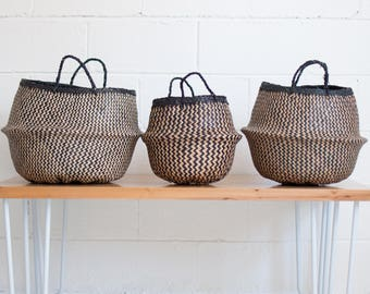 Noir Stripes Seagrass Belly Basket - Rice Baskets