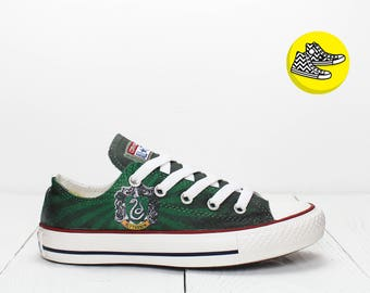 Slytherin custom low top converse sneakers Harry Potter Hogwarts college shoes