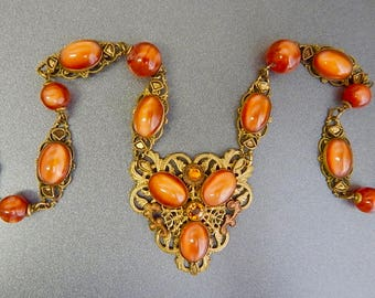 Czech, Neiger, Amber/Orange Glass, and Enamel Necklace