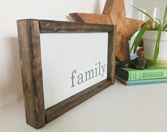"Family Sign, Family Wood Sign, Rustic Family Sign, Farmhouse Family Sign, Family Wall Decor, Farmhouse Sign, Housewarming Gift -Size: 10""x7"""