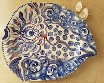 Blue, Red and White fish platter/plate