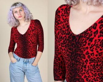 Vintage Leopard Print Bodysuit // 80s 90s Grunge Stretchy Top - Medium