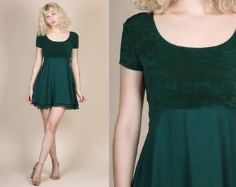 90s Babydoll Mini Dress - XS/Small // Vintage Green Metallic Empire Waist Party Minidress