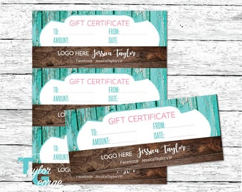 Custom Gift Certificate Template - Printable Gift Certificates - Rustic Gift Certificate Template - Shabby Chic Gift Certificates