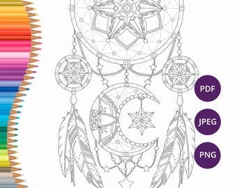 Dreamcatcher Coloring Pages Adult Book Printable For Adults Art
