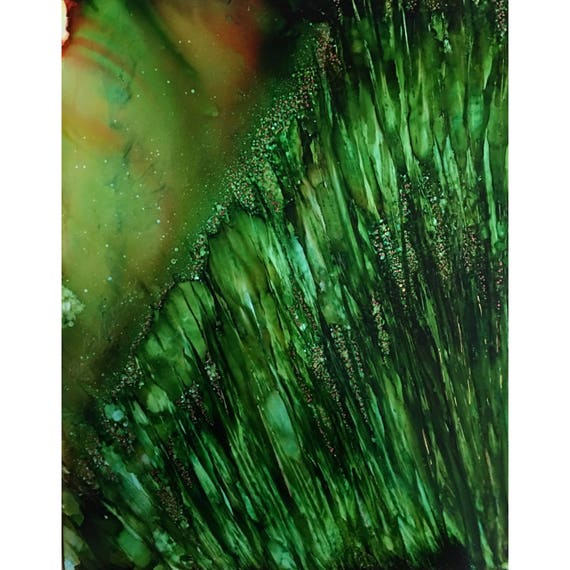 """Original Alcohol Ink Abstract Painting: """"Growth Spurt"""" (11"""" X 14"""")"""