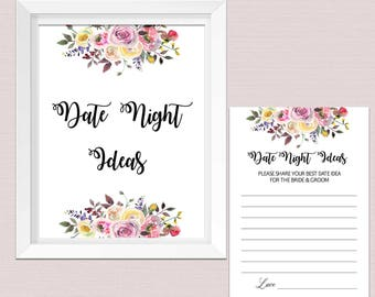 Date night ideas bridal shower, date night ideas printables Card Sign, Bridal Shower Game, boho watercolor flowers INSTANT DOWNLOAD pdf BL2