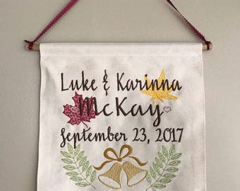 Embroidered Hanging Wall Banners - Custom Design home decor - Wedding decor - holiday decor - hostess gifts, gifts under 25 - holiday gifts