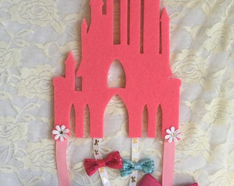 Girls princess castle bow accessory holder
