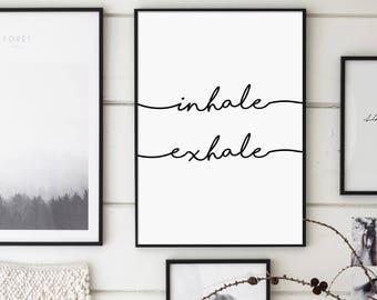 Inhale Exhale 16x20, Fitness Print, Namaste, Yoga Art, Pilates Poster, Relaxation, Breathe, Inspirational Print, Modern, Minimalist
