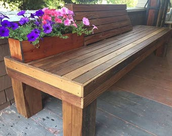 Reclaimed Redwood Garden Bench