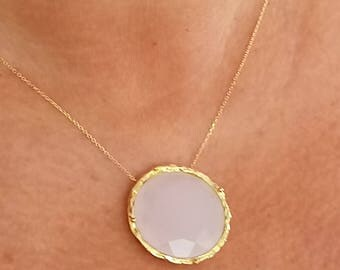 Pink Stone Necklace 14 Karat Gold