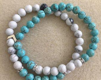 Turquoise and white marble beaded bracelet set