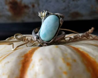 Estate Silver and Larimar Stone Ring