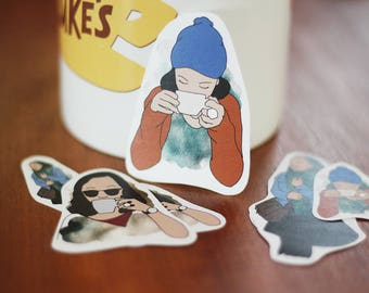 Planner Sticker Set, Coffee Girl – Watercolor Illustrations
