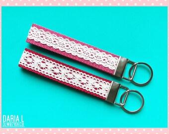Cute Key Fobs/Cute Wristlet Lanyard/Handmade With Lace/DLW0716KC8