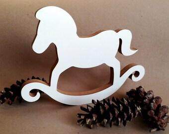 WHITE ROCKING HORSE, Horse Kids Decor, Kids Nursery, Home decor
