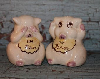 Vintage Ceramic Pig Salt and Pepper Shakers