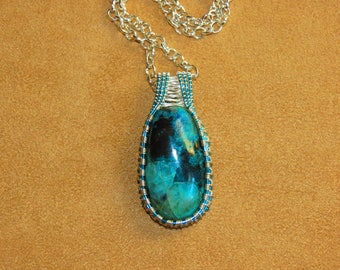236 Square weaved Pacific blue and silver chrysacolla cabachon