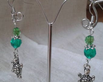 Green Pearl and turtle earrings