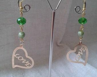 """Earrings """"ears"""" heart love gold """""""