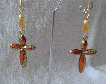 """orange and gold cross"" earrings"