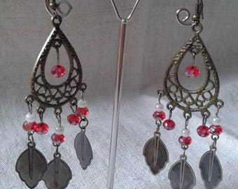 bronze, red and white earrings
