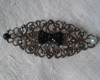 pretty black rhinestone bow brooch