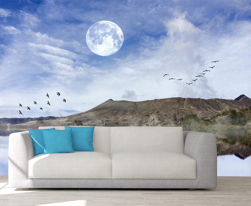 Moon wall decal wall mural night romantic photo wallpaper night moon wall decal wall mural night romantic photo wallpaper night scene mountain amipublicfo Choice Image