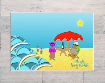 Meerkats, Whimsy, Beach Art, Quotation Art, Summer Holidays, Cartoon, Printable, Instant Download, Digital Download, Multi Sizes, Digital