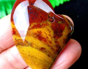 Beautiful Natural Picasso Jasper Multi color Earth Tone Stone Natural Agate Love Hear Polychrome Pendant Bead 36*34*8mm