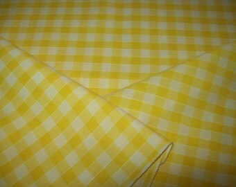 Vintage gingham fabric or vintage yellow and white