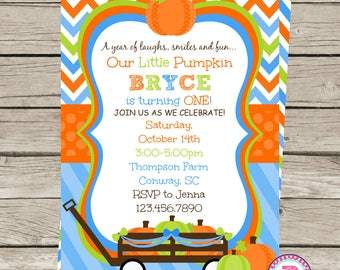 First Birthday Party Invitation Pumpkin Patch Our Little Pumpkin is turning One Fall Harvest Halloween Front Back Digital File Prints Farm