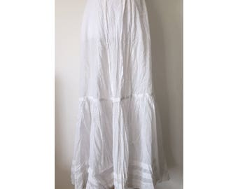 "1900's Polka Dotted Long White Edwardian Era Cotton Skirt // 24"" Waist"