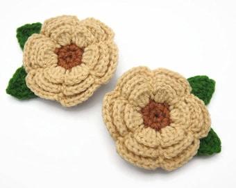 Hair Clip Flower Crochet Decorative Accessories Girl Baby Brown
