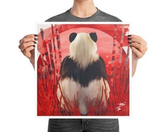 Red Panda Bear Abstract Poster, 10x10, 12x12, 16x16, 18x18, Boho Decor, Abstract Ink, Square Print