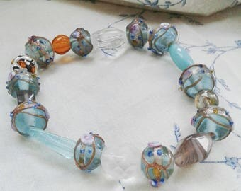 Blue Aqua Lampwork Bead Bracelet Bangle