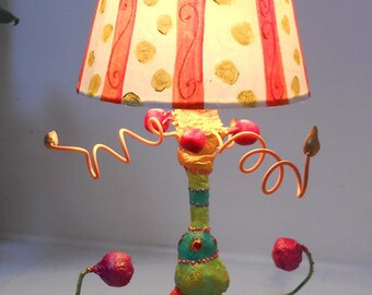 "lamp with Lampshade ""energy"" top: 48 cm - to - a nice bedside or living room lighting"