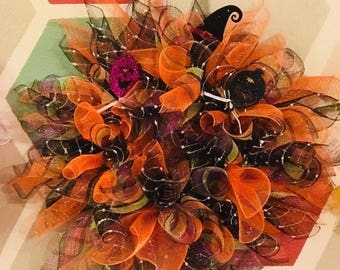Halloween Wreath, fall wreath, deco mesh, wreath, Halloween, Halloween decoration, mesh wreath