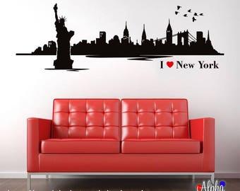 Vinyl Print Decor Wall Art Decal - New York Skyline Silhouette