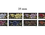 sur commande! 10 m Galon brodé Jacquard **motif fleurs** largeur 22 mm