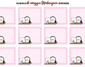 Penguin @ Work | 3 colors - Fits All Planner Sizes, Erin Condren| Happy Planner| Recollections| Paper Plum Planner