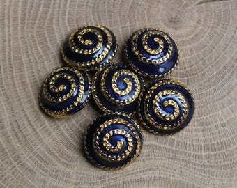 Set of 6 vintage metal Buttons, Blue Buttons, Antique buttons, Round Gunmetal, Metal Buttons, Hole Button, Metal Hole Button