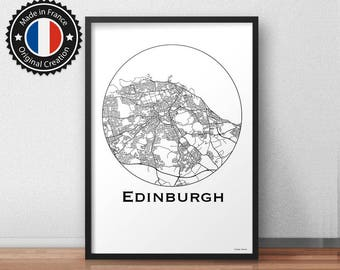 Poster Edinburgh France Minimalist Map - City Map